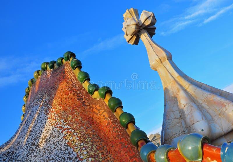 住处Batllo细节安东尼奥Gaudi 免版税库存照片