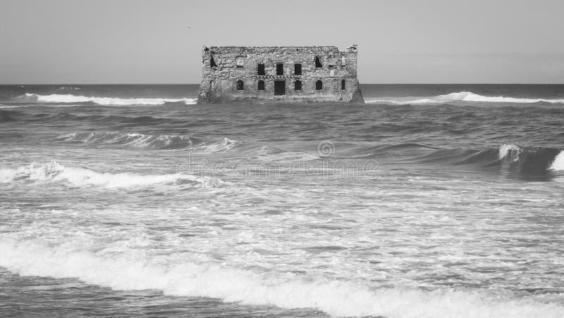 住处Del Mar,老英国堡垒在西非洲, Tarfaya,摩洛哥 免版税库存照片