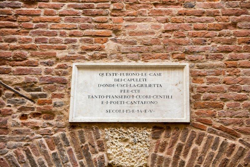 住处di Giulietta朱丽叶` s议院;通过卡佩洛;维罗纳 库存照片