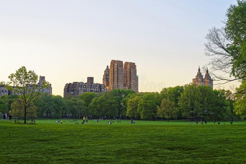 住宅区的曼哈顿地平线在西部的中央公园 库存图片