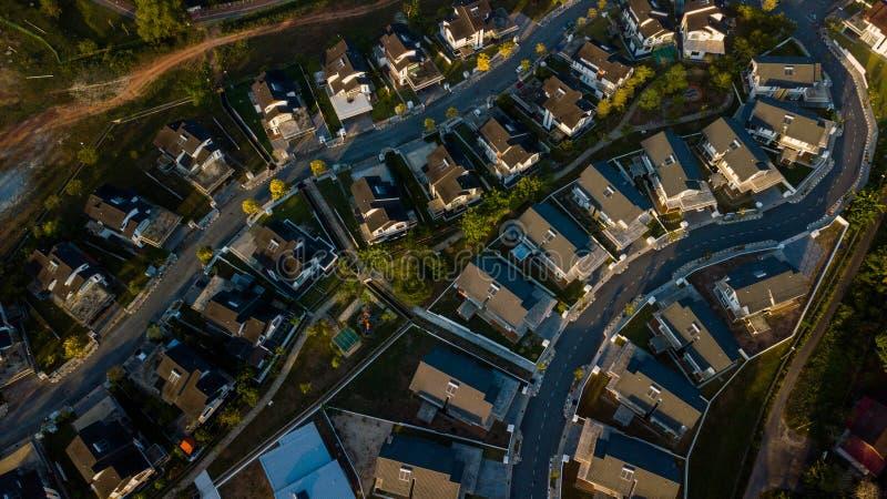 住宅区鸟瞰图在马来西亚 免版税库存照片
