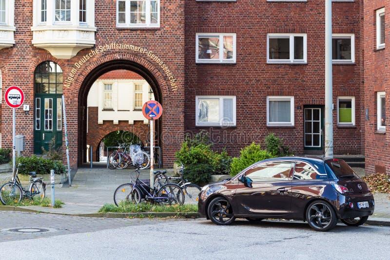 住宅处所在汉堡市在秋天 库存图片