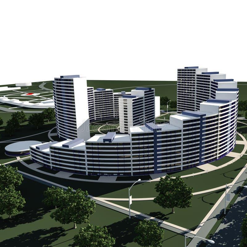 住宅复合体3D回报 向量例证