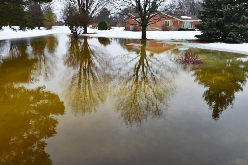 议院,从冬天雪融解的家庭洪水 免版税图库摄影