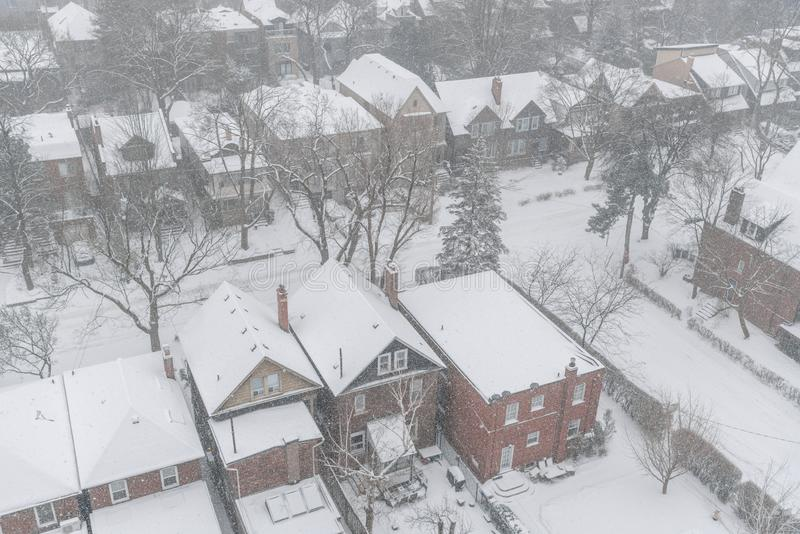 住宅用在冬天暴风雪的雪盖的房子和屋顶在多伦多 免版税库存图片