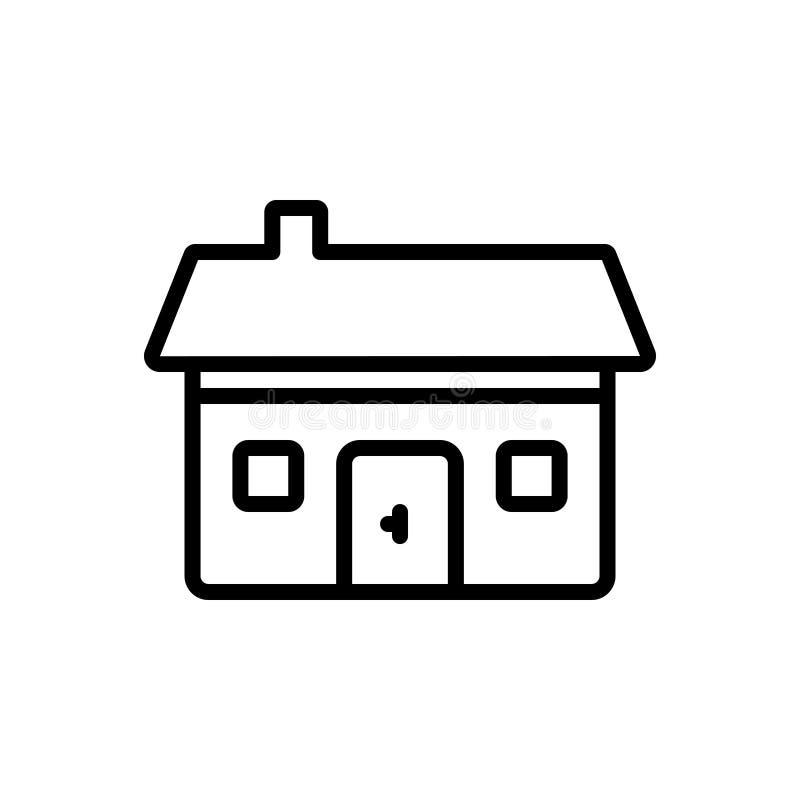 住宅的黑线象,居住和遵守的 库存例证