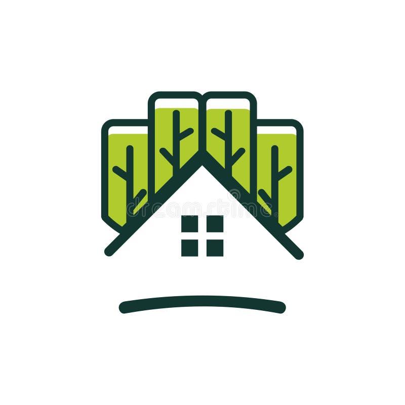 住宅简单的温室-抽象树生态家 皇族释放例证