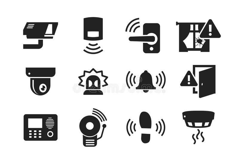 住家安全被设置的传感器象 库存例证