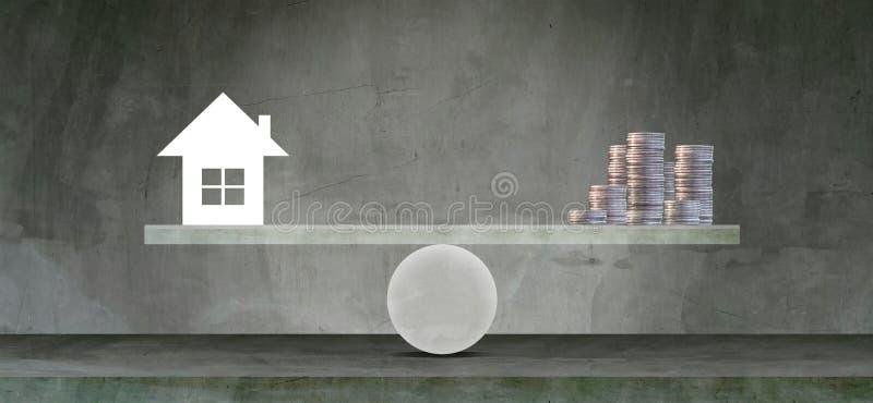 住房贷款市场 — 从房地产的'跷跷板'概念看住房和平衡储蓄 免版税库存图片