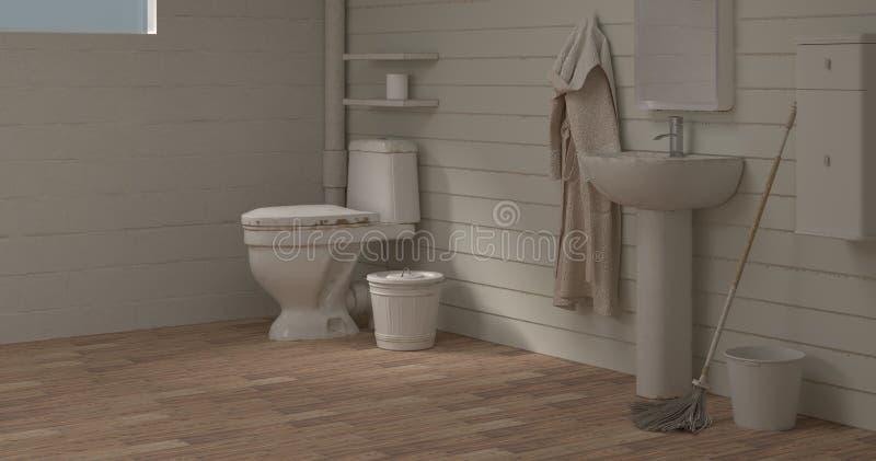 住所改善洗手间在清洗3d例证空的室内部backgroun空的墙壁前的室水盆反对家庭deco 向量例证