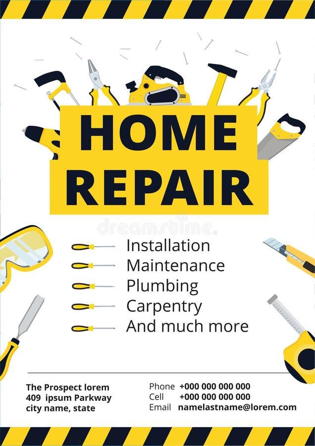 住所改善海报或飞行物与修理工具 议院constr 向量例证