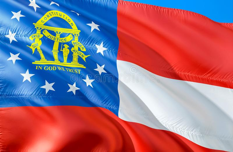 佐治亚标志 挥动美国州旗子设计的3D 乔治亚状态,3D的全国美国标志翻译 全国颜色和全国 库存图片
