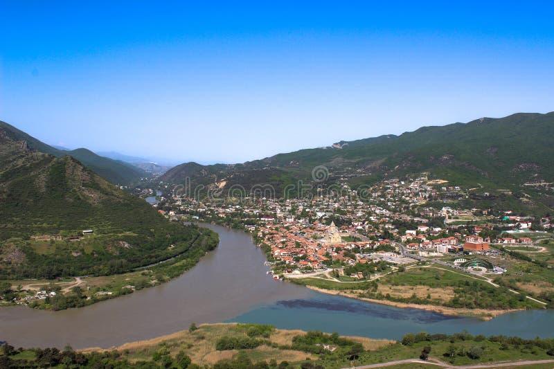 佐治亚 姆茨赫塔 库纳河和Aragvi河 库存照片