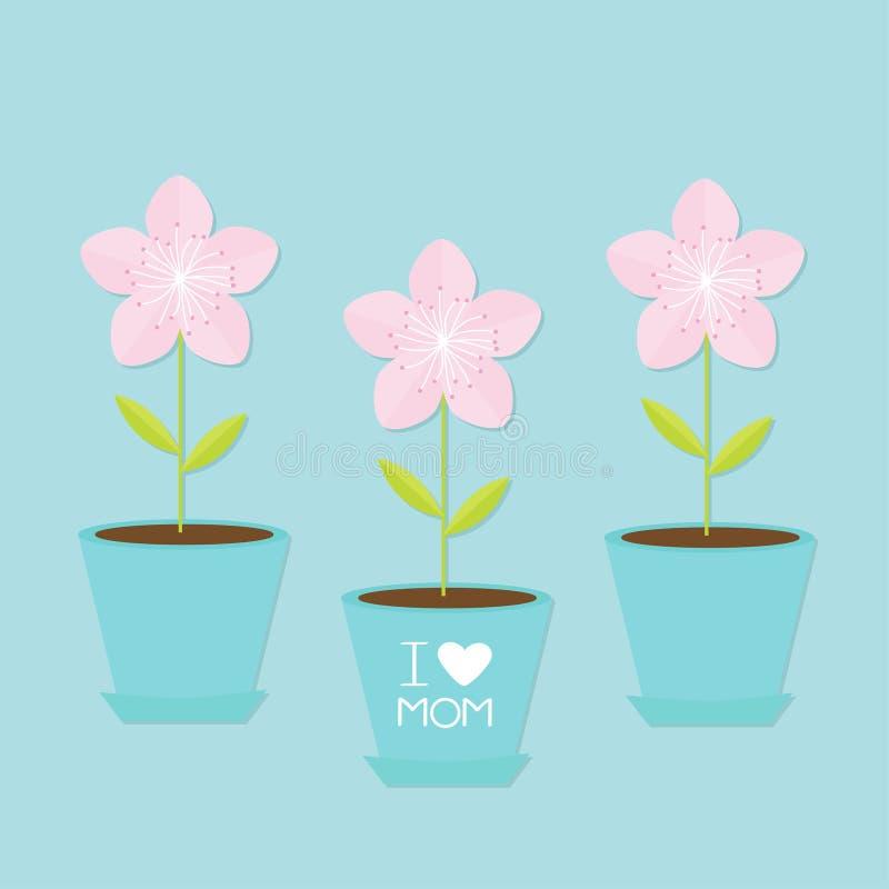 佐仓花盆集合 日本开花的樱花 蓝色背景我爱与心脏标志问候的妈妈愉快的母亲节文本 皇族释放例证