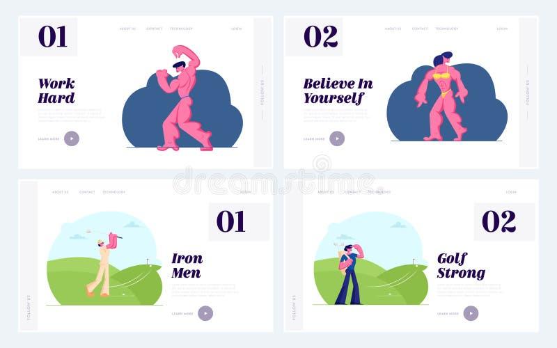体型和高尔夫球竞争网站着陆页集合,运动员字符执行在阶段的运动身体,打高尔夫球 皇族释放例证