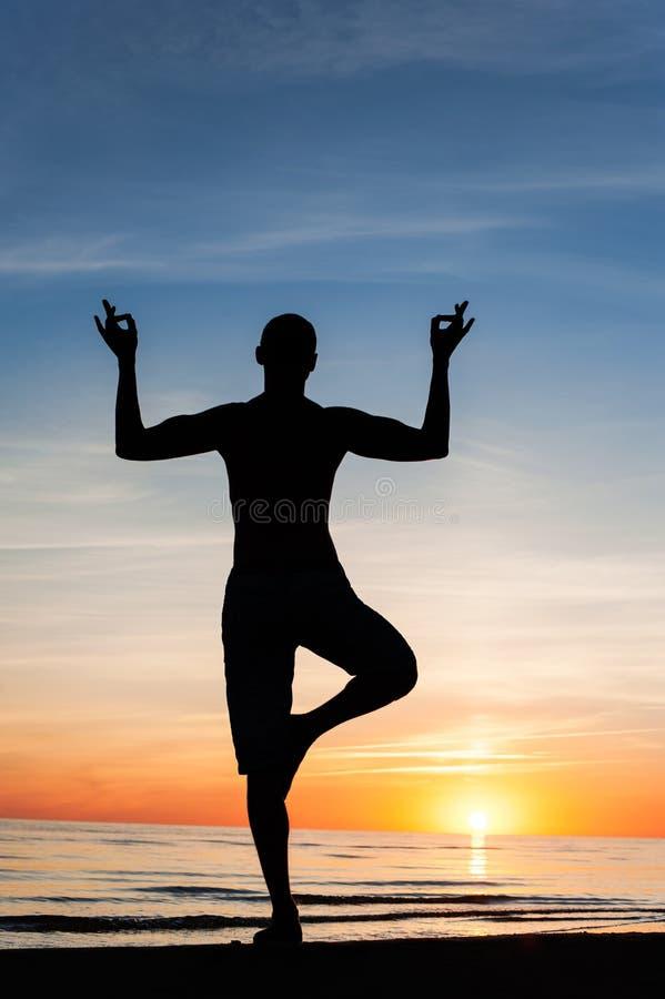 体操为身体和灵魂健康在早期的mornng/晚上 免版税图库摄影