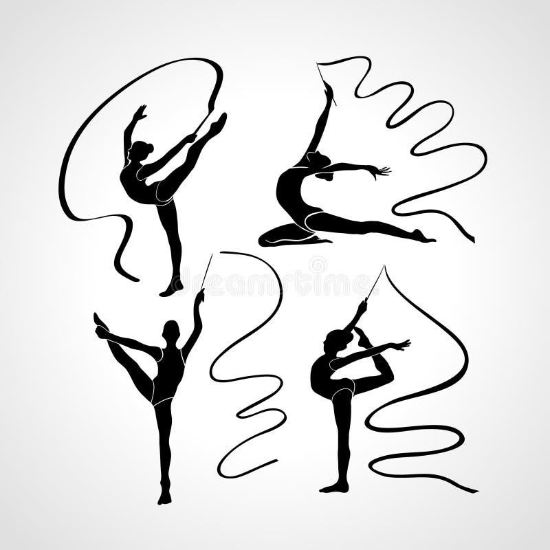 体操女孩剪影  与丝带,传染媒介例证集合的艺术体操 皇族释放例证