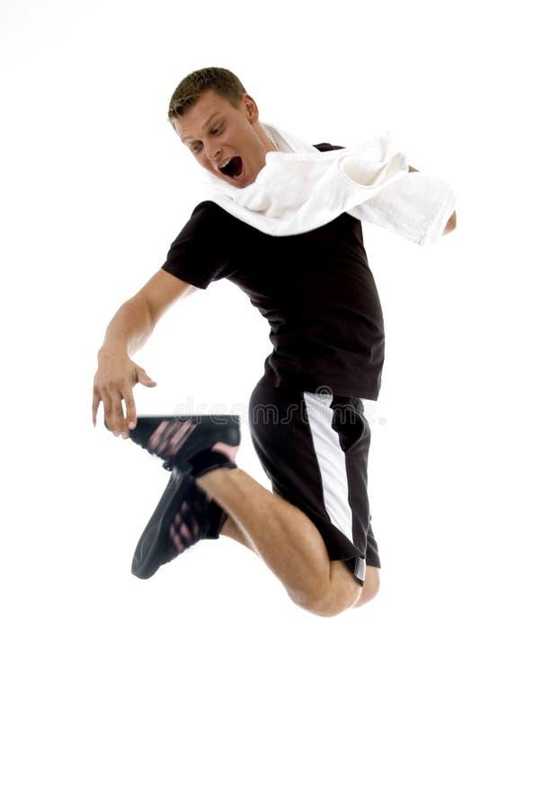 体操跳的拉特银币人 库存照片