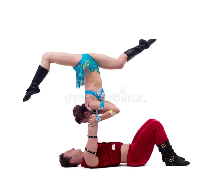 体操运动员新年的展示,隔绝在白色 免版税库存图片