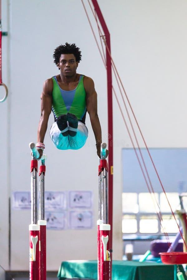 体操运动员男性竞争的双杠 库存图片