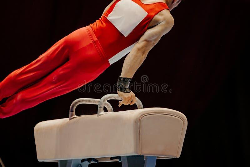 体操运动员锻炼鞍马 免版税库存图片
