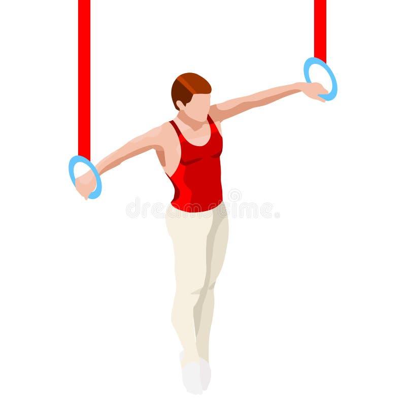 体操仍然敲响夏天比赛象集合 3D等量GymnastOlympics体育冠军国际竞争 体育我 皇族释放例证