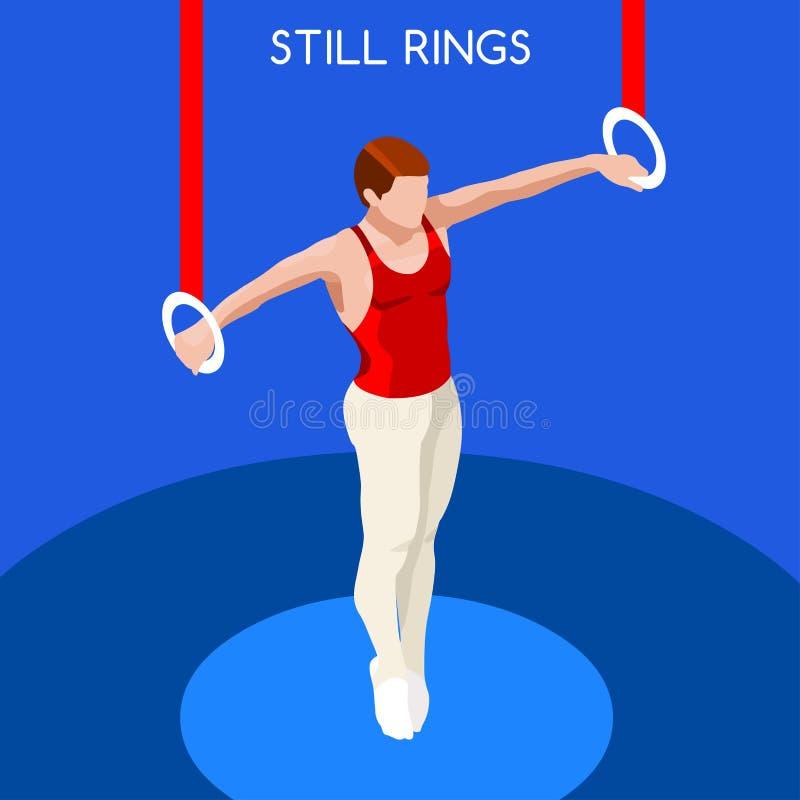 体操仍然敲响夏天比赛象集合 3D等量GymnastSporting冠军国际竞争 皇族释放例证