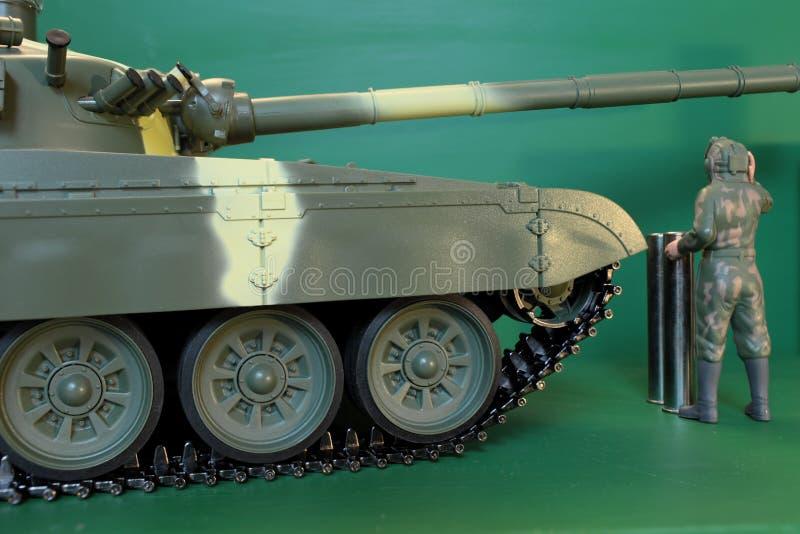 总体的战士和在panzer的一件盔甲 免版税库存照片