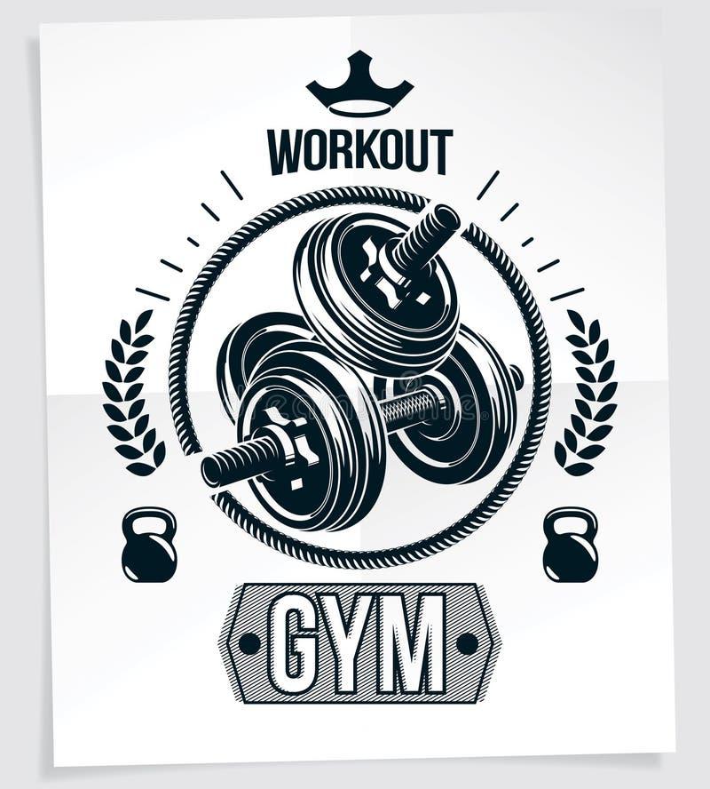 体育中心传染媒介使用圆盘重量哑铃和水壶响铃体育健身被做的广告海报 皇族释放例证