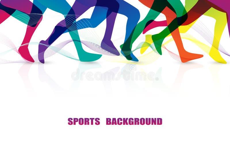 体育人跑 马拉松 五颜六色的腿图表的关闭 r 库存例证