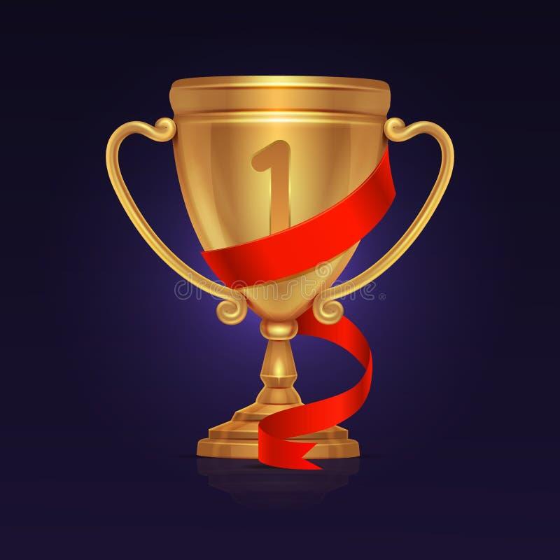 体育优胜者金战利品冠军杯子 库存例证