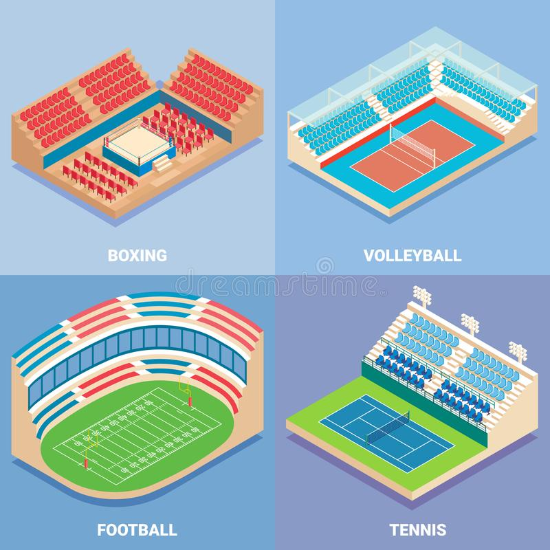体育体育场传染媒介平的等量象集合 库存例证