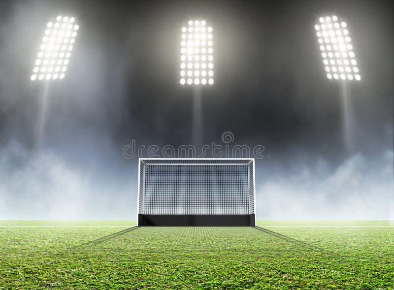 体育体育场和曲棍球目标 皇族释放例证