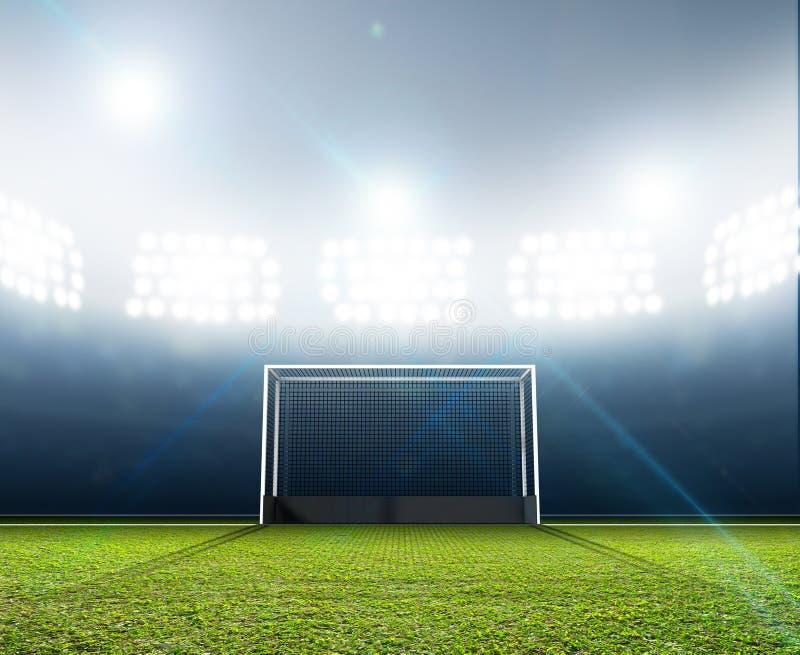 体育体育场和曲棍球目标 向量例证