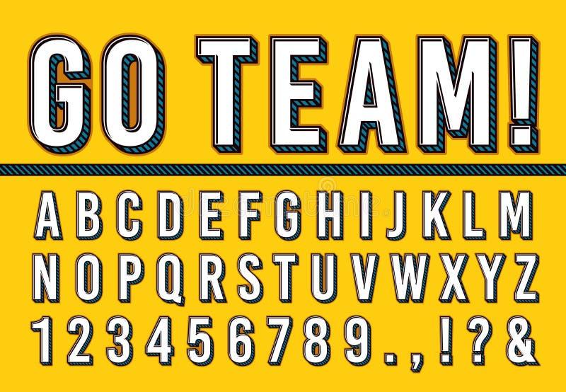 体育信件字体 学院体育队印刷术字法、体育字体字母表和校园数字3d传染媒介 向量例证