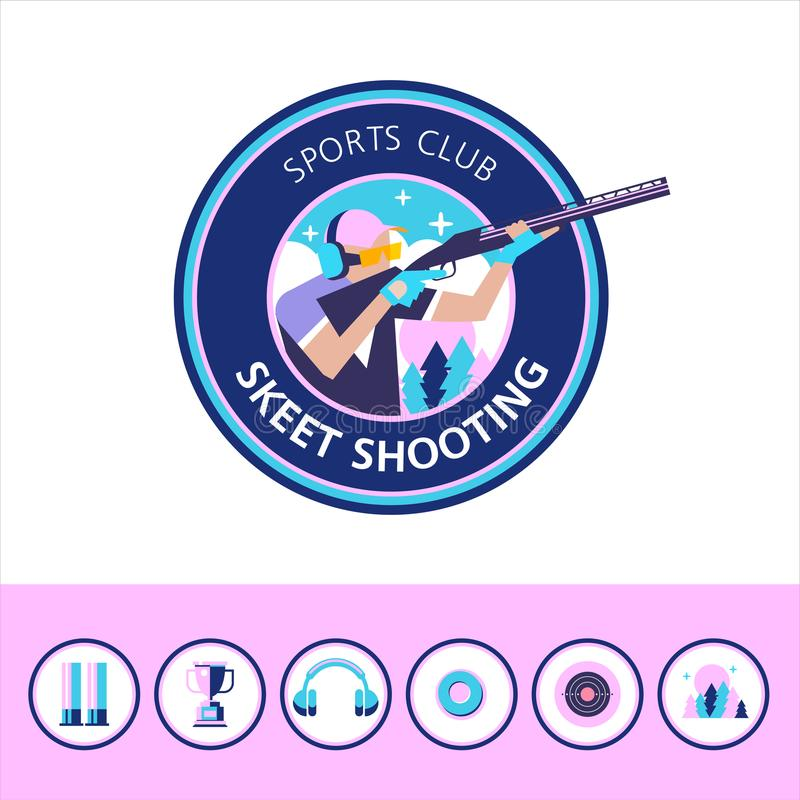 体育俱乐部的传染媒介商标 射击长柄水杓 套设计ele 皇族释放例证