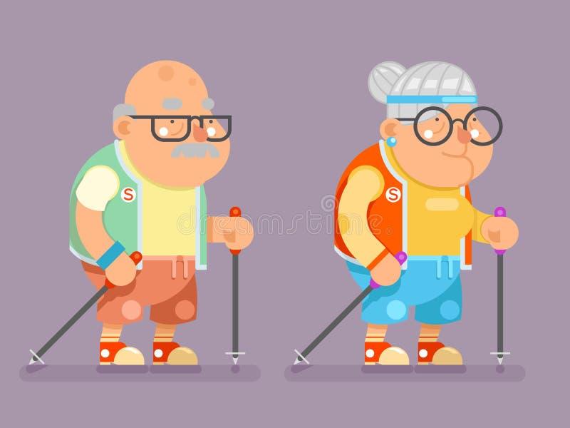 体育健康祖父老婆婆活跃生活方式年龄北欧人芬兰拐棍老人夫人Character Cartoon Flat 皇族释放例证