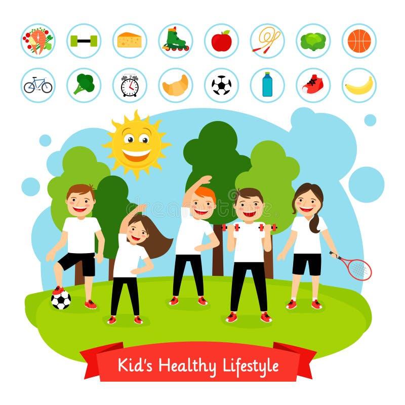 体育儿童夏天活动 库存例证