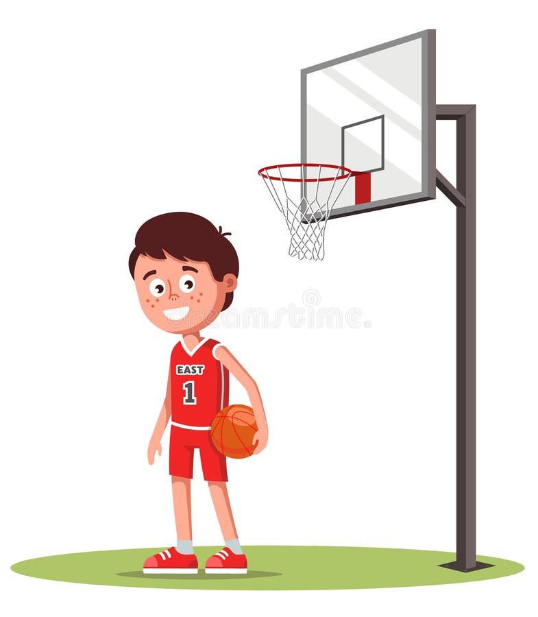体育制服的男孩在与篮球篮子的领域 在球的手上 库存例证
