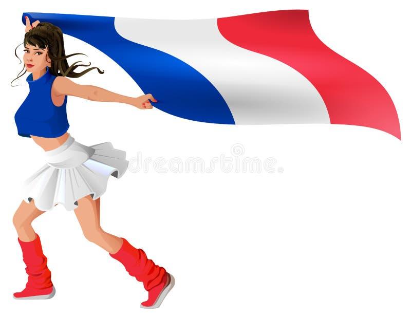 体育制服的美丽的少妇拿着法国的旗子 库存例证