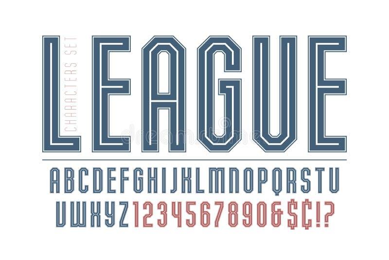 体育和techno显示铅印设计,字母表 向量例证