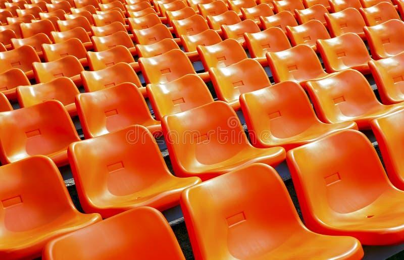 体育场塑料位子 免版税库存照片