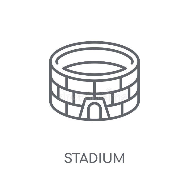 体育场线性象 在丝毫的现代概述体育场商标概念 库存例证