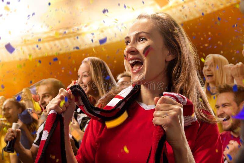体育场足球迷情感画象 免版税库存照片