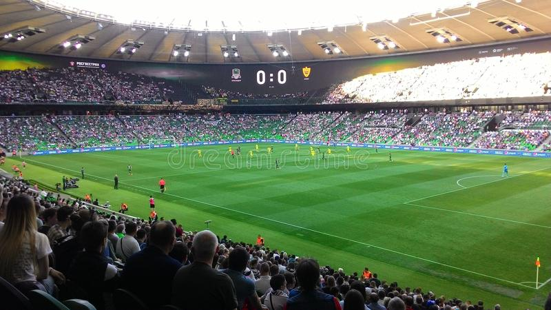体育场 比赛足球 正面看台在体育场内 免版税库存图片