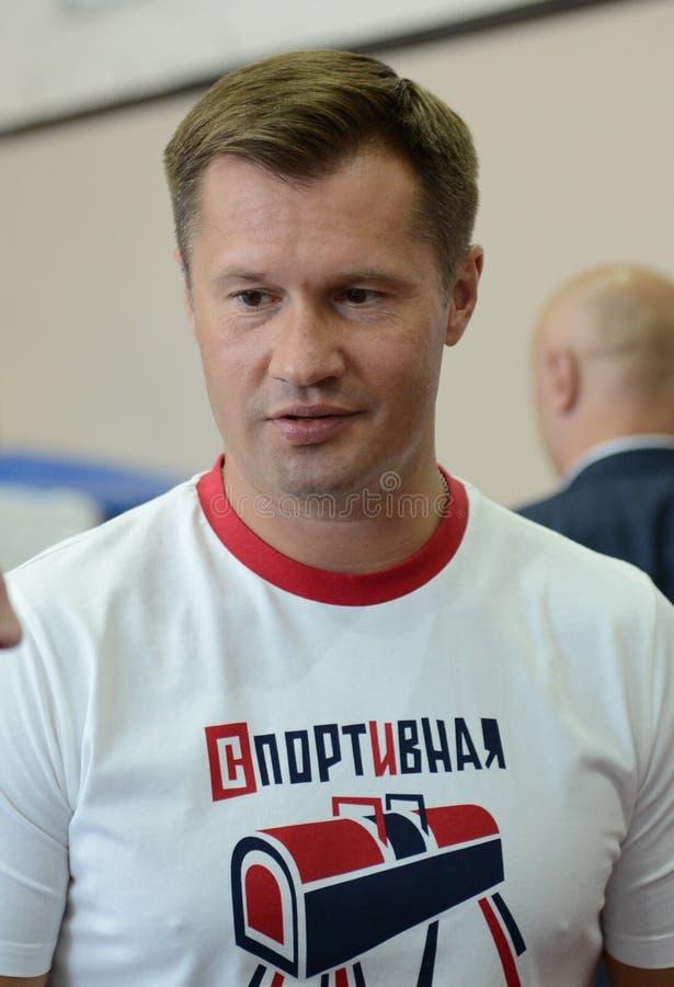 体育复杂`奥林匹克`的四次奥林匹克冠军阿列克谢・涅莫夫 免版税库存照片