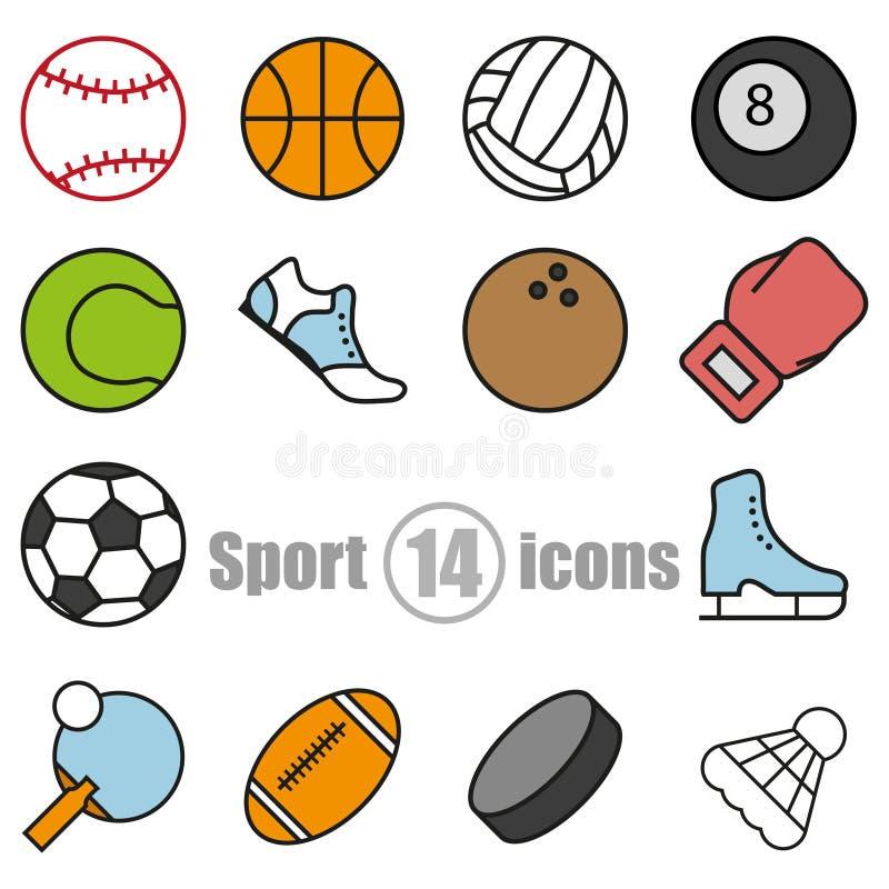 体育套在一个平的样式的14个象 库存例证