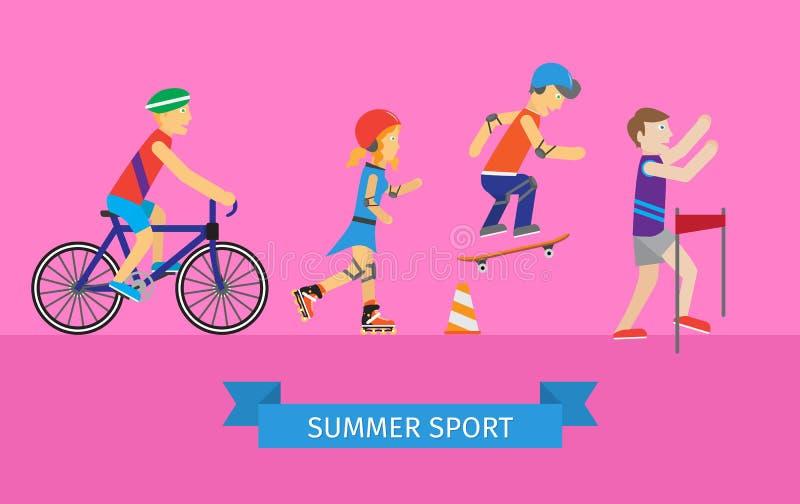 体育套男人和妇女向体育求助 向量例证