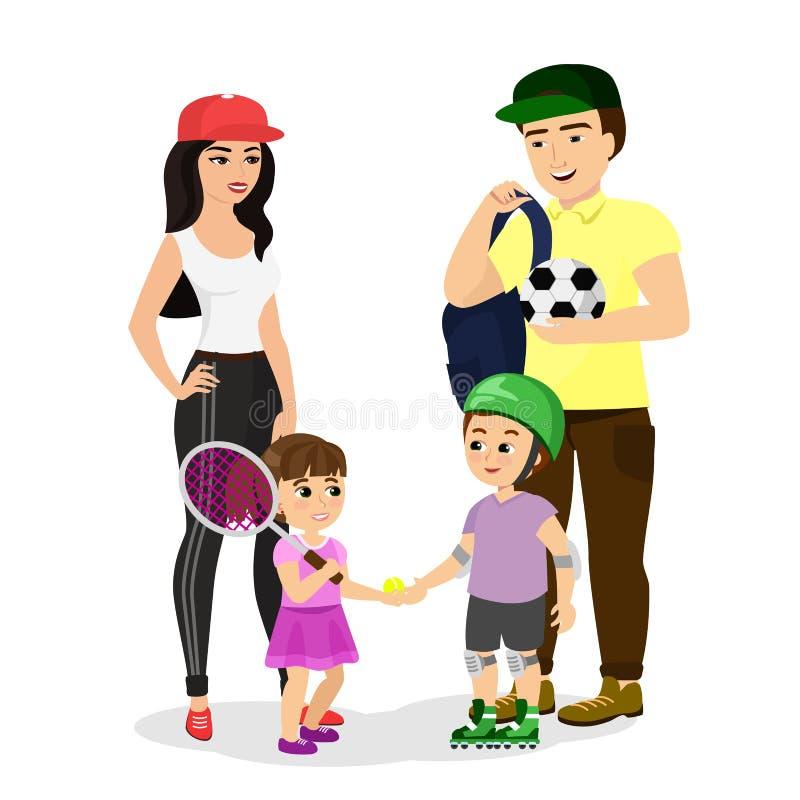 体育家庭的传染媒介例证 爸爸、母亲、儿子和女儿体育衣裳的带领一种健康生活方式 愉快 向量例证