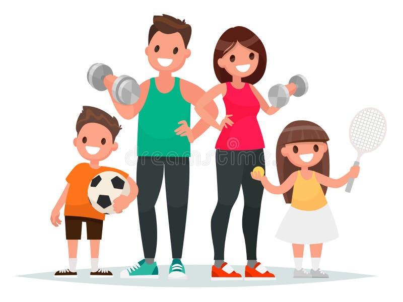 体育家庭 爸爸、母亲、儿子和女儿带领健康lifes 向量例证